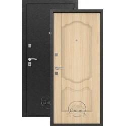 Дверь входная Сибирь S-1/1(серебро-дуб беленый), 2 замка, сталь 1,0 мм.