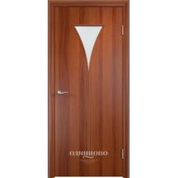 Дверь ламинированная,С-4, итальянский орех, стекло матовое, Верда.