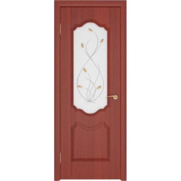 Дверь пвх, Орхидея, итальянский орех, стекло матовое, Ростра.