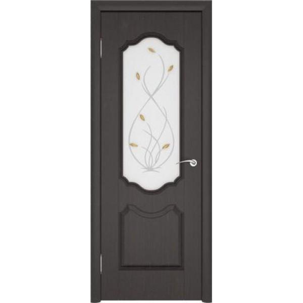 Дверь пвх, Орхидея, венге, стекло матовое, Ростра.