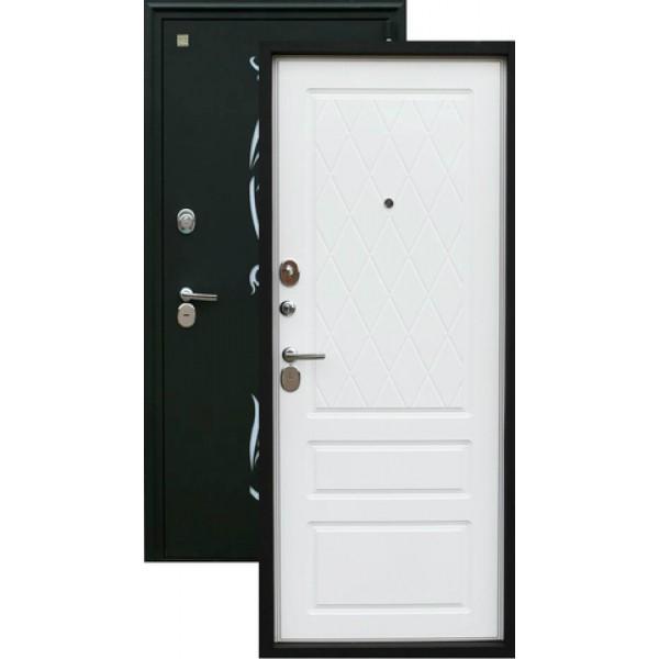 Дверь стальная ЗЕВС Z-7(черный шёлк-софт белый), 2 замка сталь 2,0 мм.