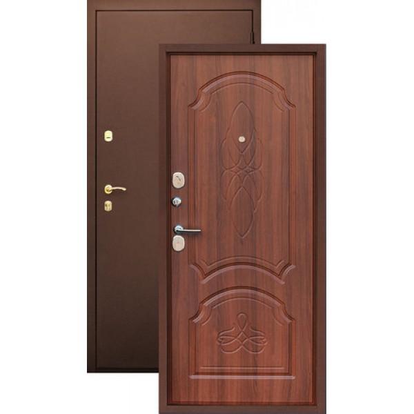 Дверь стальная ЗЕВС Z-6(медь-орех), сталь 1,8 мм, полотно 9 см, 2 контура уплотнителей.